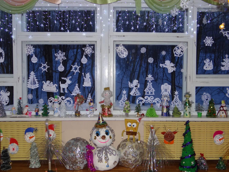 Украшения к новому году окна в детском саду